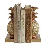 Creative Co-op Tropical Pineapple Gold-colored Resin Bookends