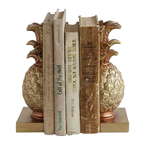 Creative Co-op Tropical Pineapple Gold-colored Resin Bookends by Creative Co-op
