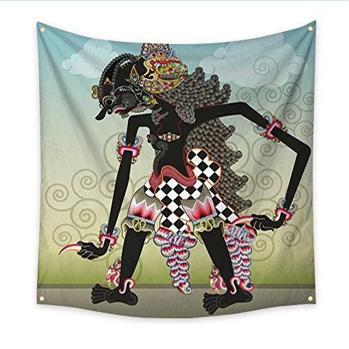 (Anniutwo Party Decorations Tapestry Knight Character on Shadow Puppets Living Room Bedroom Dorm Decor in 70W x 70L Inch)