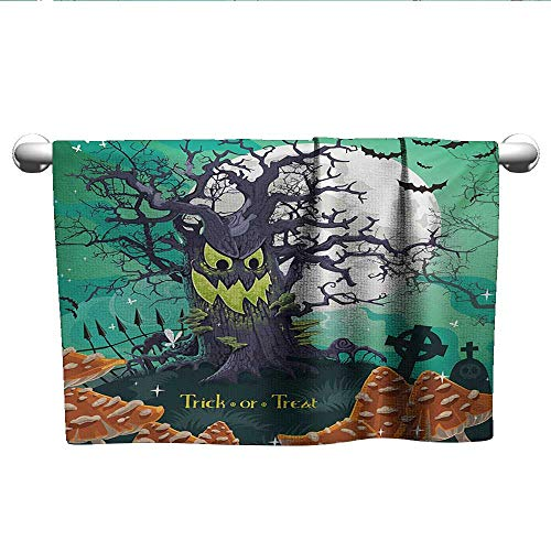alisoso Halloween,Dish Towels Trick or Treat Dead Forest with Spooky Tree Graves Big Kids Cartoon Art Print Travel Towel Quick Dry Multicolor W 14