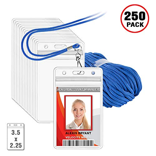 MIFFLIN Lanyard with Vertical ID Holder (Royal Blue Non-Breakaway Cord, 3.5x2.25 inch Card Holder, 250 Pack)