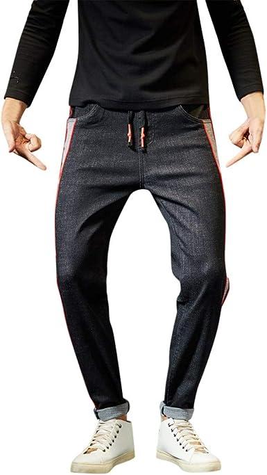 Vpass Pantalones Vaqueros Para Hombre Pantalones Casuales Moda Deportivos Running Pants Elasticos Cinturon Ajustable Patchwork Pantalon Fitness Jeans Largos Pantalones Ropa De Hombre Amazon Es Ropa Y Accesorios