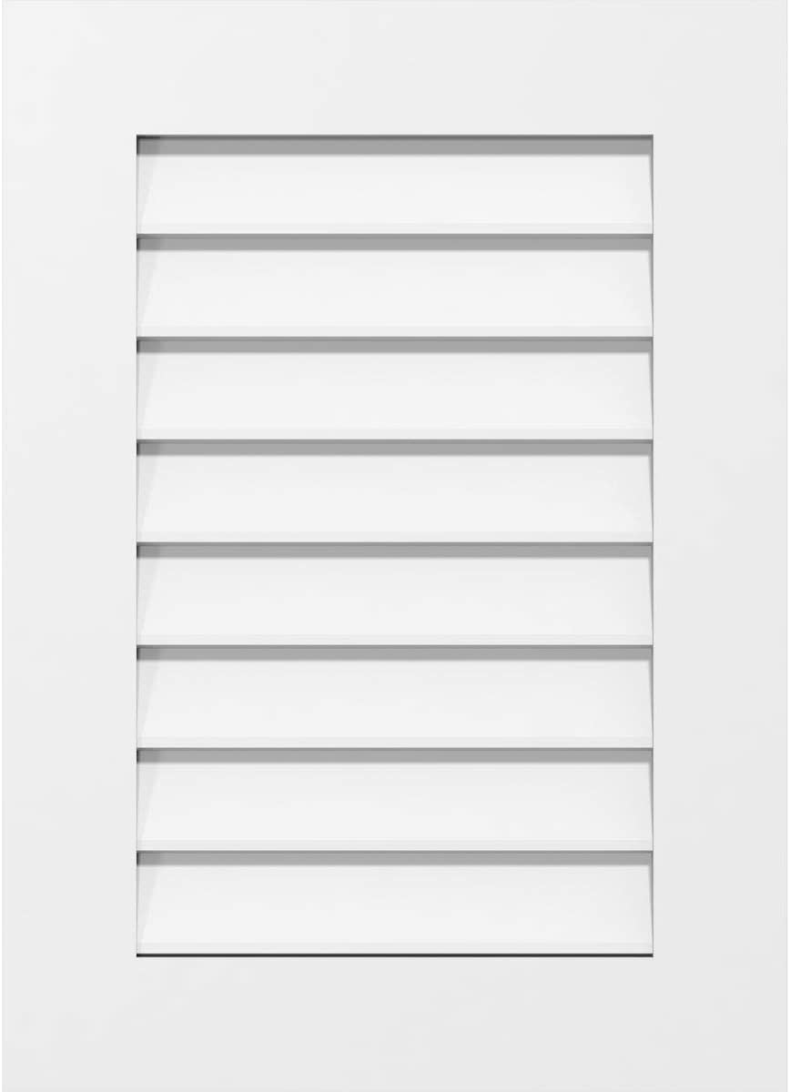 Ekena Millwork GVPVE22X4201SN Vertical Surface Mount PVC Gable Vent 22 W Inch x 42 H Inch Factory Primed White