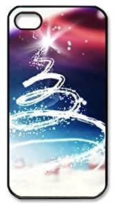 Abstract Christmas Tree Light PC For Apple Iphone 5/5S Case Cover Black New Year gift