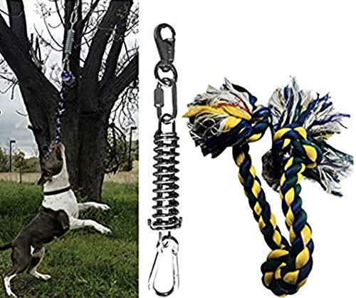 Spring Pole for Pit Bull - (1) Dog Conditioner - Muscle Builder - (1) $15 Value Heavy Duty 3 Knott Tug Rope Toy Included! - Healthy Teeth Flosser-Fun Spring Pole for Pitbull & All Breeds!