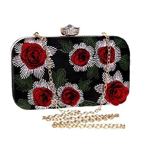 borse nozze colore per fiori di a sera mano donne sera Pochette da 19x11x5cm a dimensioni rosso festa vintage pollici fatte 7x4x2 da la W7awWYqTP