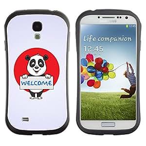 Fuerte Suave TPU GEL Caso Carcasa de Protección Funda para Samsung Galaxy S4 I9500 / Business Style Welcome Sign Panda Bear Japan Flag Red White