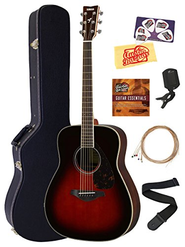Folk Acoustic Guitar Strings - Yamaha FG830 Solid Top Folk Acoustic Guitar - Tobacco Sunburst Bundle with Hard Case, Tuner, Strings, Strap, Picks, Austin Bazaar Instructional DVD, and Polishing Cloth