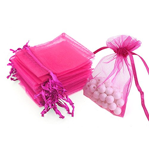 Organza Bags, G2PLUS 100 PCS 10cmX15cm (4'X6') Drawstring Organza Jewelry Pouches Wedding Party Festival Favor Gift Bags Candy Bags (Rose)