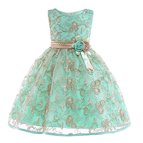 (Girl Dress,Floral Baby Girl Princess Bridesmaid Pageant Gown Birthday Party Wedding Dress (Green,)