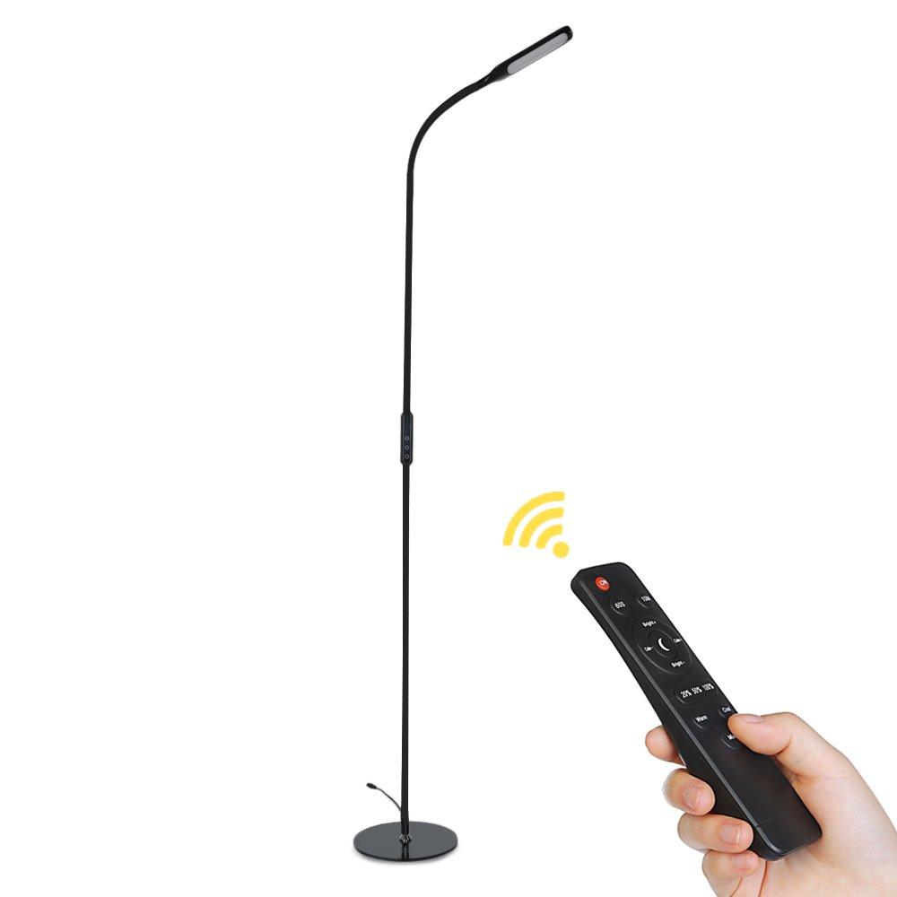 LED Stehlampe, dimmbare 9W Stehleuchte Standleuchte mit Fernbedienung, Zeiteinstellung, 5 Farbtemperaturen und 5 Helligkeitsstufen, flexiblem Hals für Schlafzimmer, Wohnzimmer und Büro