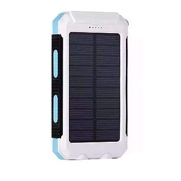 melysEU 20000mAh Cargador Solar portátil de Powerbank Portable Energy Batería Externa Doble USB General con batería y compás (Blanco)