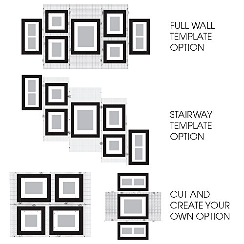 Amazon gallery perfect 7 piece black wood photo frame wall amazon gallery perfect 7 piece black wood photo frame wall gallery kit includes frames hanging wall template decorative art prints and hanging maxwellsz