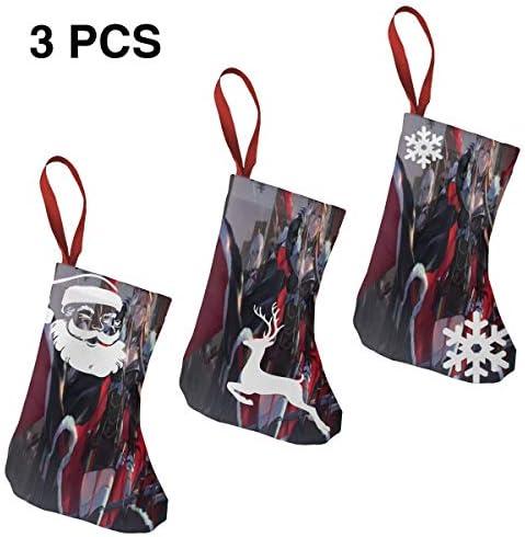 クリスマスの日の靴下 (ソックス3個)クリスマスデコレーションソックス アズールレーン少女 クリスマス、ハロウィン 家庭用、ショッピングモール用、お祝いの雰囲気を加える 人気を高める、販売、プロモーション、年次式