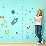 Spaceship Rocket Growth Height Chart Wall Stickers| Removable PVC Decor | Planets with Stars Wall Decals for Kids Room and Nursery Room By Little Sues (Rocket)