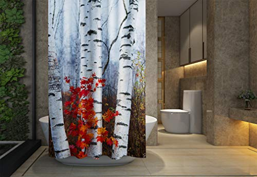 Asdecmoly No Chemical Odor Shower Curtain, Hooks Resistant Waterproof Bathroom Shower Curtains 66X72 inches White Birch Red Leaves