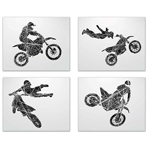 Summit Designs Motocross Dirt Bike Wall Decor Art Prints - Silhouette - Set of 4 (8x10) Poster Photos - Bedroom - Man Cave