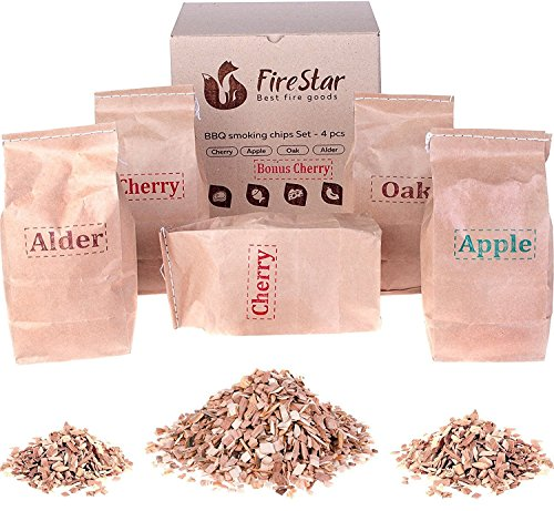 Assortment Grill (Smoking Chips Pack: Alder, Oak, Apple, Cherry - Wood Smoker Chips for BBQ and Grill)