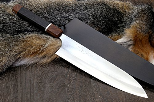 Yoshihiro Hayate ZDP-189 Super High Carbon Stainless Steel Gyuto 9.5'' Chefs Knife Premium Ebony Handle with Sterling Silver Ring Nuri Saya Cover by Yoshihiro