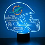 Mirror Magic Store Miami Dolphins Football Helmet LED Night Light with Free Personalization - Night Lamp - Table Lamp - Featuring Licensed Decal