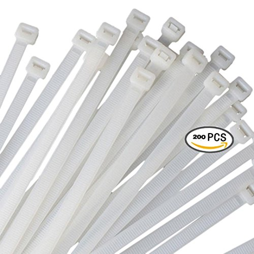 Zip ties by Strong Ties 100 6 inch 30lbs Tensile Strength and 100 8 inch 50lbs tensile strength. 200 Pack Mega Bundle of Cable Wire Ties for Indoor and Outdoor (Mega Accessory Bundle)