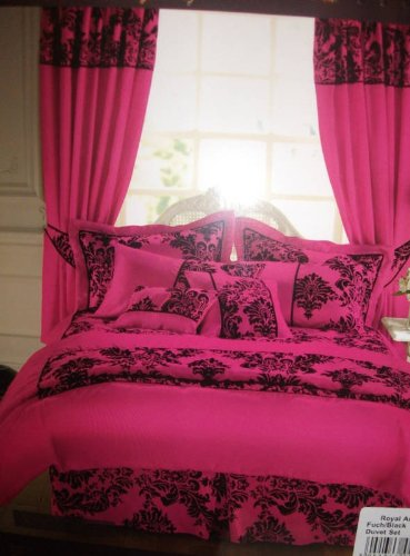 Royal Damask Duvet Cover Set Double Size Bedding Hot Pink Cerise Black
