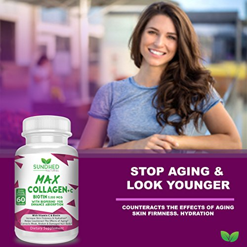 51Pt5p%2B1o%2BL - Sundhed Natural Max Collagen Plus C (60 caps) - All Natural Collagen Capsules with Biotin & Bioperine to Boost Anti Aging Hydration & Skin Firmness - Collagen Pills to Strengthen Bones & Nails