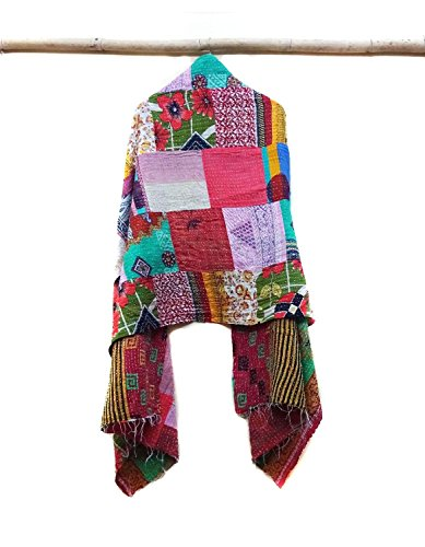 New Kantha Scarf Cotton Sari Stole Dupatta Neck Wrap Indian Handmade Wraps patchwork