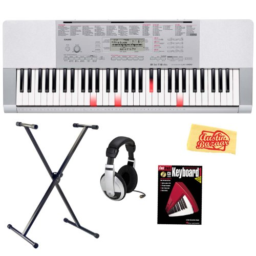 Casio LK-280 61-Key Portable Keyboard with Instructional Light-Up Keys Bundle with Keyboard Stand, Headphones, Instructional Book, and Polishing Cloth (Casio Mp3 Player)
