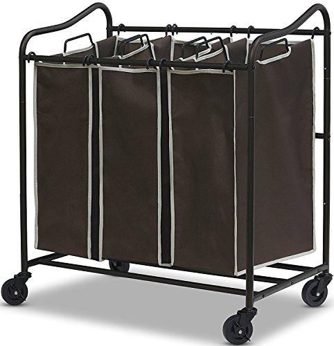 Heavy Duty 3-Bag Laundry Sorter Rolling Cart, Brown