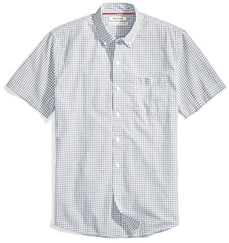 Goodthreads Men's Standard-Fit Short-Sleeve Gingham Plaid Poplin Shirt, White/Grey Micro Check, X-Small