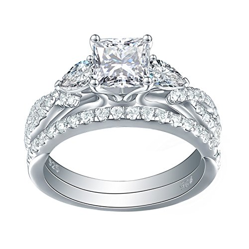 Newshe 1.7ct Princess Pear White AAA Cz 925 Sterling Silver Engagement Wedding Ring Set Size - Setting 6mm Ring Cut Emerald