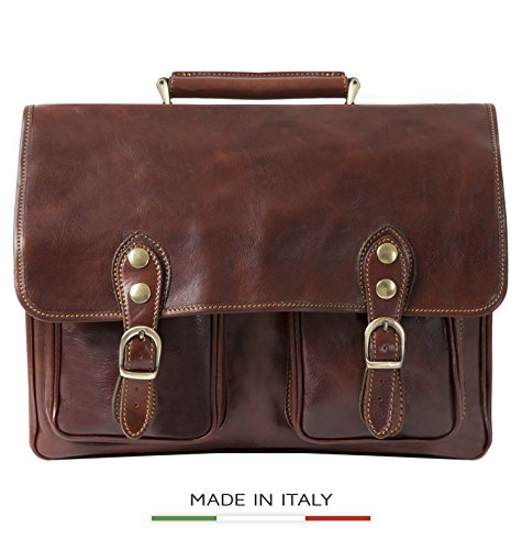 Alberto Bellucci Men's Italian Leather Express Satchel Laptop Messenger Bag, Brown, One Size by Alberto Bellucci