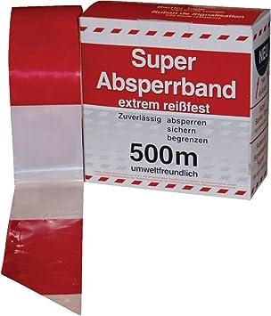 Absperrband Rot Weiss Geblockt 80 Mm Breit A 500m Amazon De Baumarkt