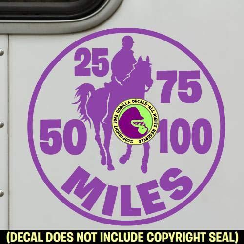 Endurance MILEAGE Riding Horse Rider 25 50 75 100 Miles Vinyl Decal Sticker C