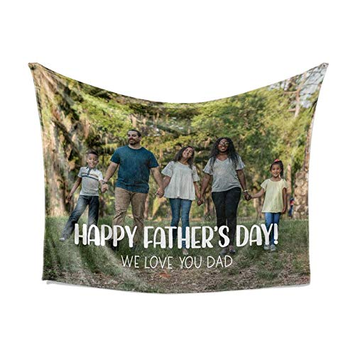 Personalized Fathers Day Dad Fleece Throw Blanket Gifts from Son Daughter - Warm Lightweight Extra Large Medium Small Size Blankets for Dads