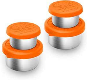 Cohotek Stainless Steel Food Storage Containers(1.7oz/3.3oz), Salad Dressing Containers with Leakproof Silicone Lids, Toddler Lunch Box, Suitable as Kids Lunch Box and to Go Containers, 4PCS, Orange