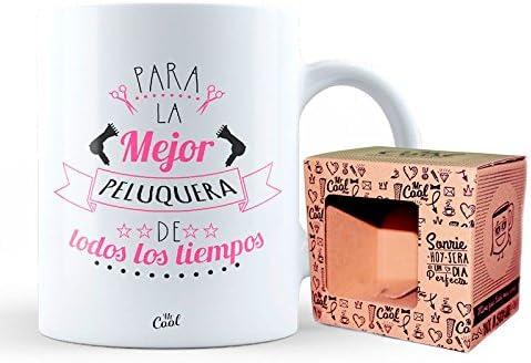 Mr Cool Taza 33 cl en Caja Regalo con Mensaje para la Mejor Peluquera de Todos Los Tiempos Cer/ámica 15x10x5 cm