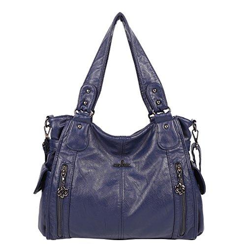 Angelkiss 2 Sacs à Main Femmes Cuir Sacs Portés Main Bourses en Cuir lavé Top Zippers Multi Pockets Sacs à Bandoulière 1193 (Bleu)