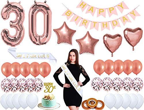 30th Birthday Decorations Rose Gold Set 30th Birthday Supplies for Her (Women), Huge