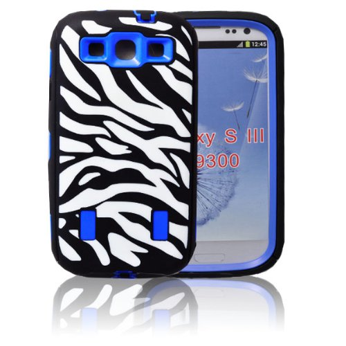 MagicSky Plastic Silicone Hybrid Black Zebra Pattern Case for Samsung Galaxy III S3 i9300 - 1 Pack - Retail Packaging - Blue