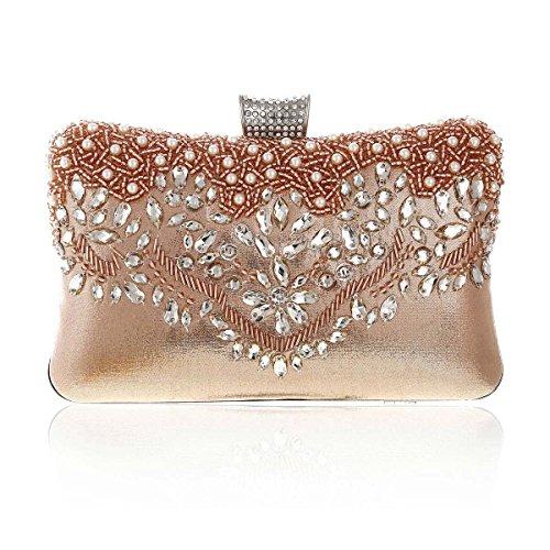 Metal Glitter Bead Womens Party Detail Damara Champagne Front Box Clutch qxpvZCU