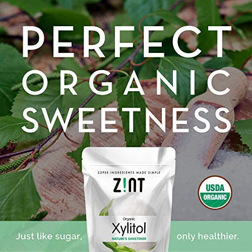 Zint Organic Xylitol Sweetener: Natural Sugar Free Substitute, Non GMO, Low Glycemic Index, Measures & Tastes Like Sugar (16 ounces) by Zint (Image #1)