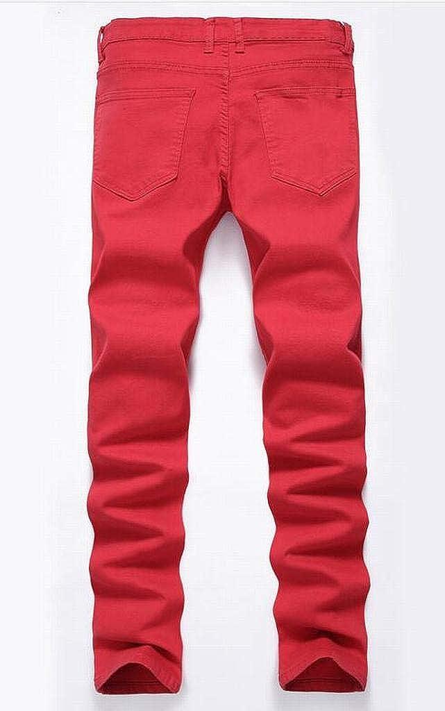 FSSE Men Hip Hop Mid Rise Ripped Casual Regular Fit Jeans Denim Pants