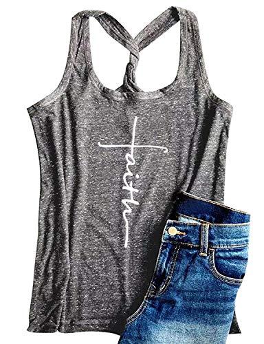 - IRISGOD Womens Racerback Tank Tops Summer Workout Graphic Sleeveless Christian T Shirts Light Grey