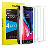 [4 Pack] SPARIN Screen Protector for iPhone 8 Plus/iPhone 7 Plus with Alignment Frame - Easy Installation, Tempered Glass, Double Defence
