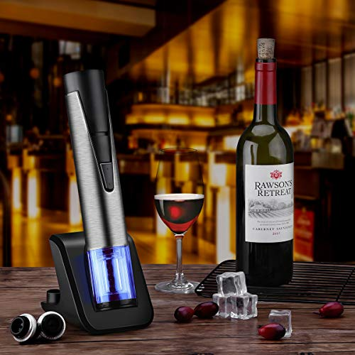 Electric Wine Bottle Opener with Wine Preserver 2-in-1 Vacuum Pump and Bottle Opener with Markable Wine Stopper, Foil Cutter and Collectible Recharging Base (18/8 Steel) by CUSIBOX (Image #1)