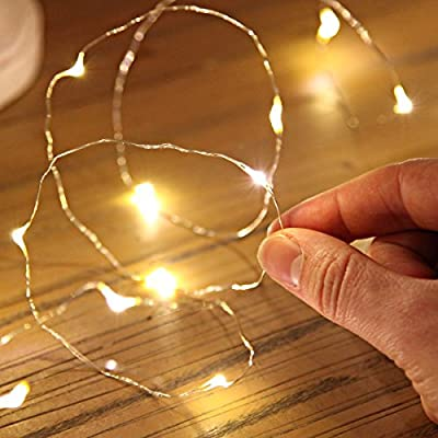 Led String Lights, Sanniu Mini Battery Powered Copper Wire Starry Fairy Lights, Battery Operated Lights for Bedroom, Christmas, Parties, Wedding, Centerpiece, Decoration (5m/16ft Warm White)