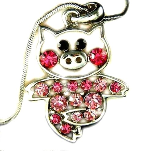 Piglet Jewelry - Adorable Little Pig Piggy Pendant and Necklace Pink and Rose Crystal 18