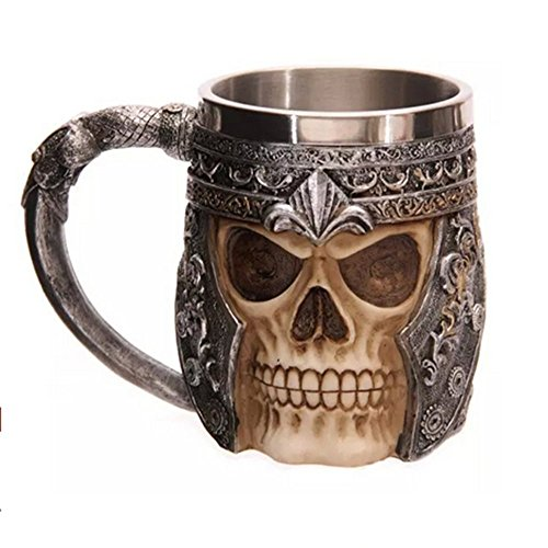 XIDUOBAO Creative Cool Skull Mug Resin and Stainless Steel 3D Design Skull Coffee Mug Ghost Head Skeleton Tankard Cup